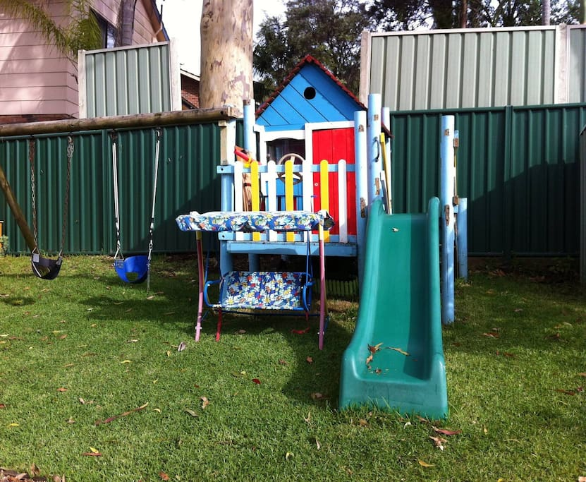 Cubby house, slide, swings, trampoline, table tennis, bikes, climbing frame all available for use
