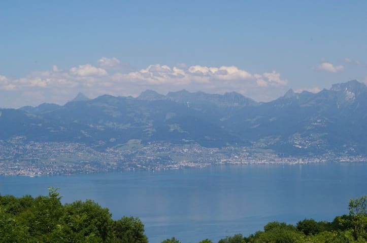 vu de l'aappartement sur le Lac Léman et la Lausanne (Suisse)