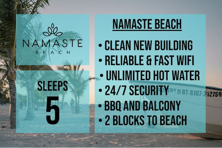 ★ SLEEPS 5 ★ NAMASTE BEACH ★ 3 MIN WALK TO BEACH ★