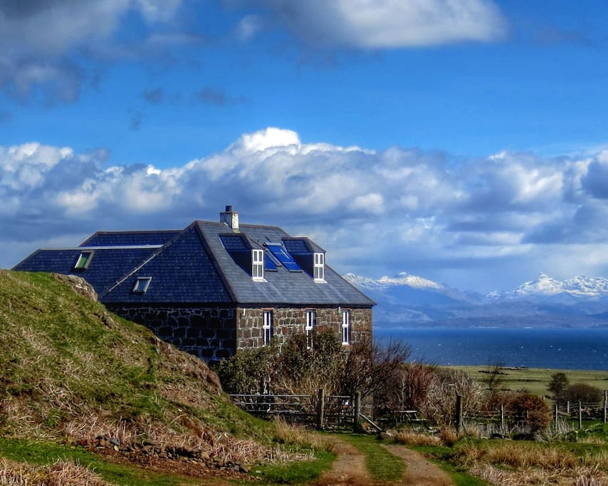 Glebe Barn Hostel with Arisaig behind