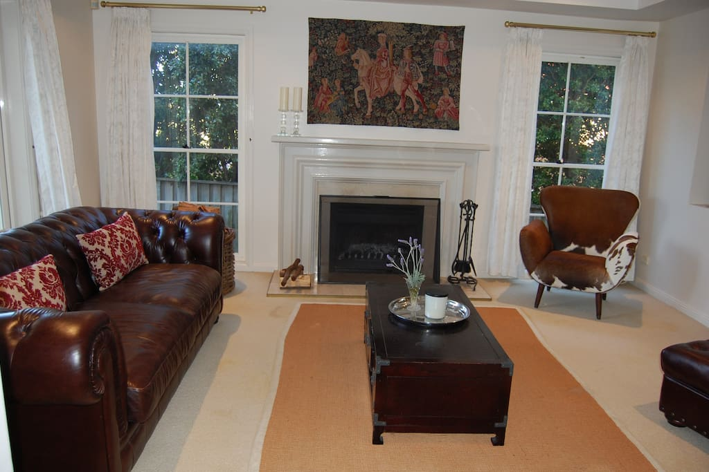 Lounge room with open fire