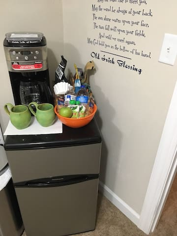 Your own coffee maker, snacks, and mini refrigerator in your room.
