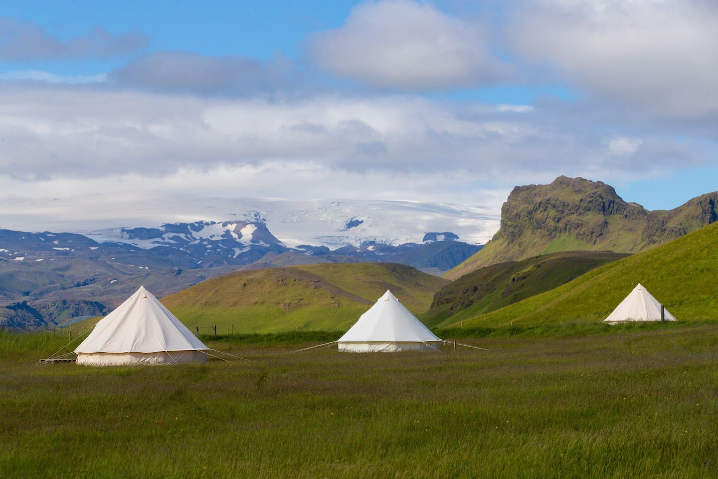 Glamping tents at the Farmhouse, in the background there is Myrdalsjokull glacier, with it´s famous Volcano Katla.