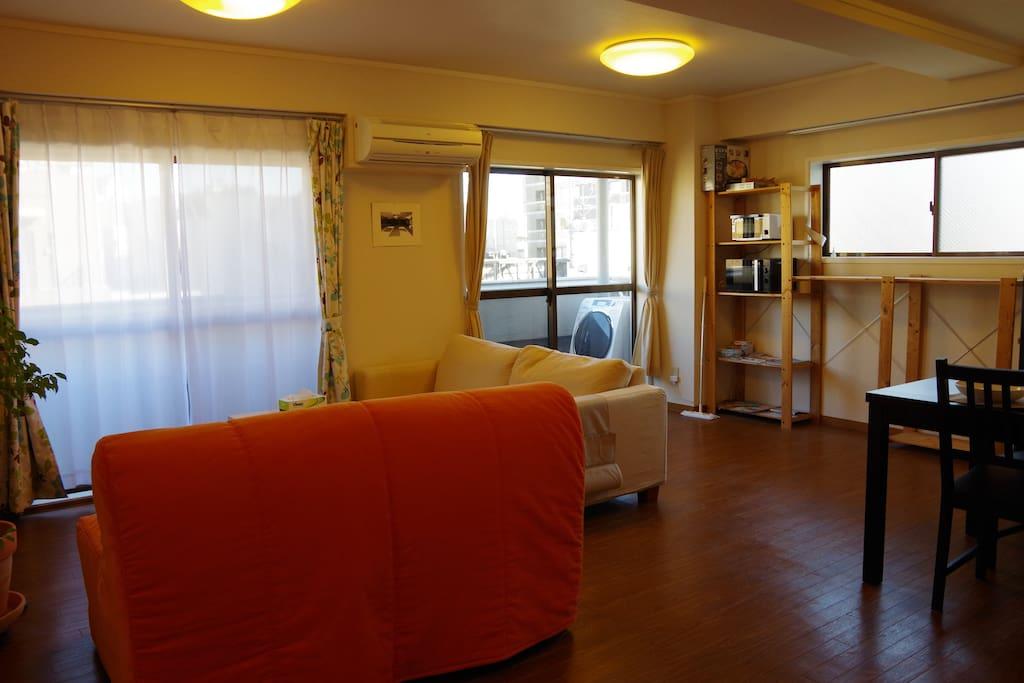 Bright corner room with three windows