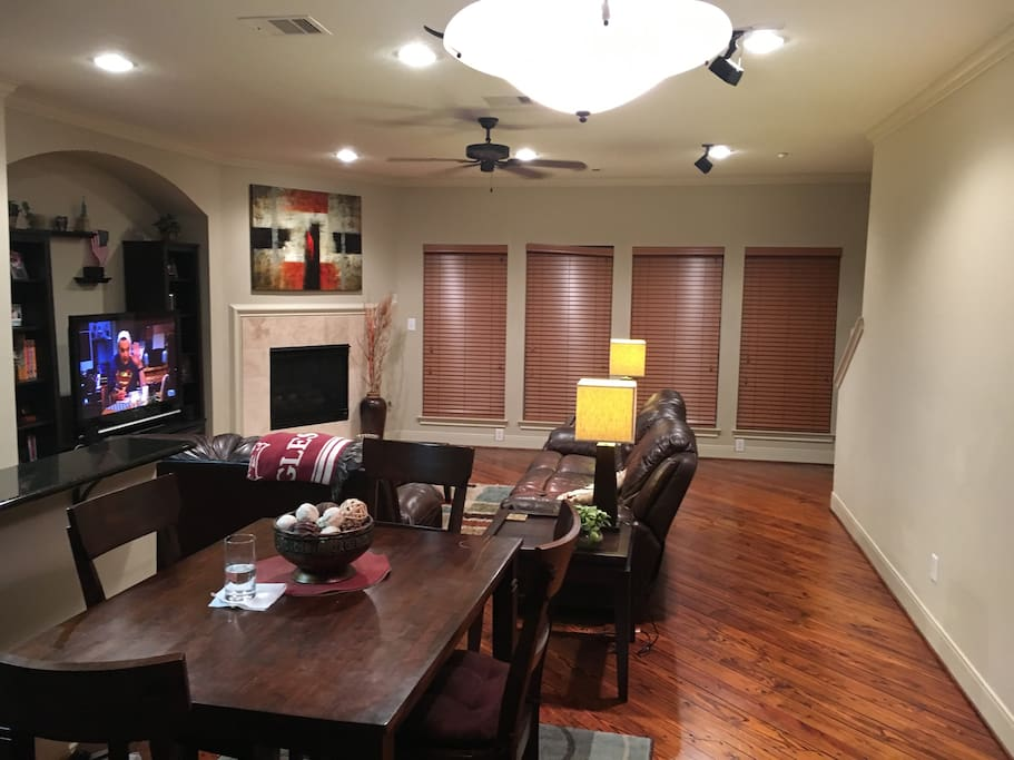 Dining room area and living room