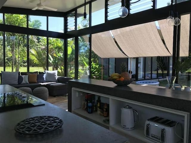 Kitchen and living area,with big bifold doors,so you get that beautiful feeling off indoor outdoor living..