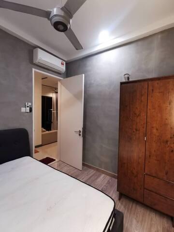 Industrial-themed bedroom in Bangsar South