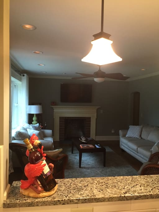 Fireplace and Flatscreen TV's in the Living Room with plenty of space for seating!