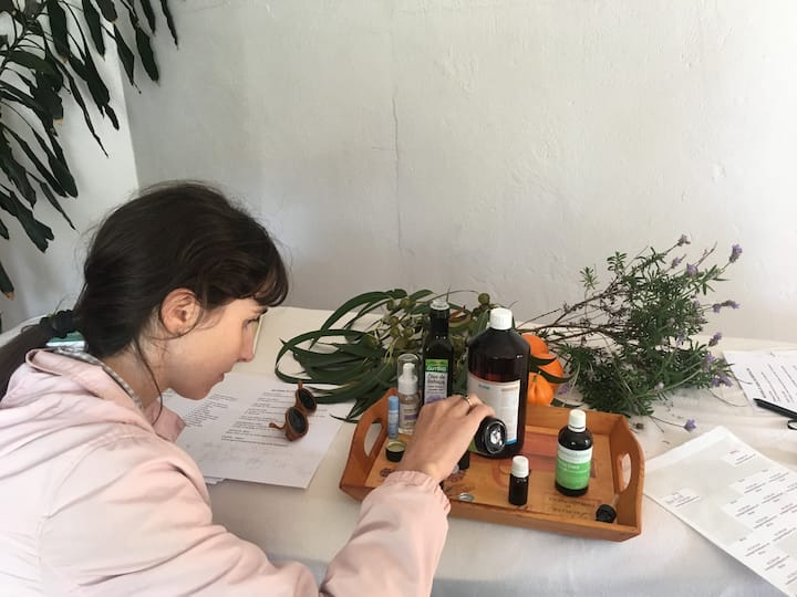 creating her aromatherapy body oil !