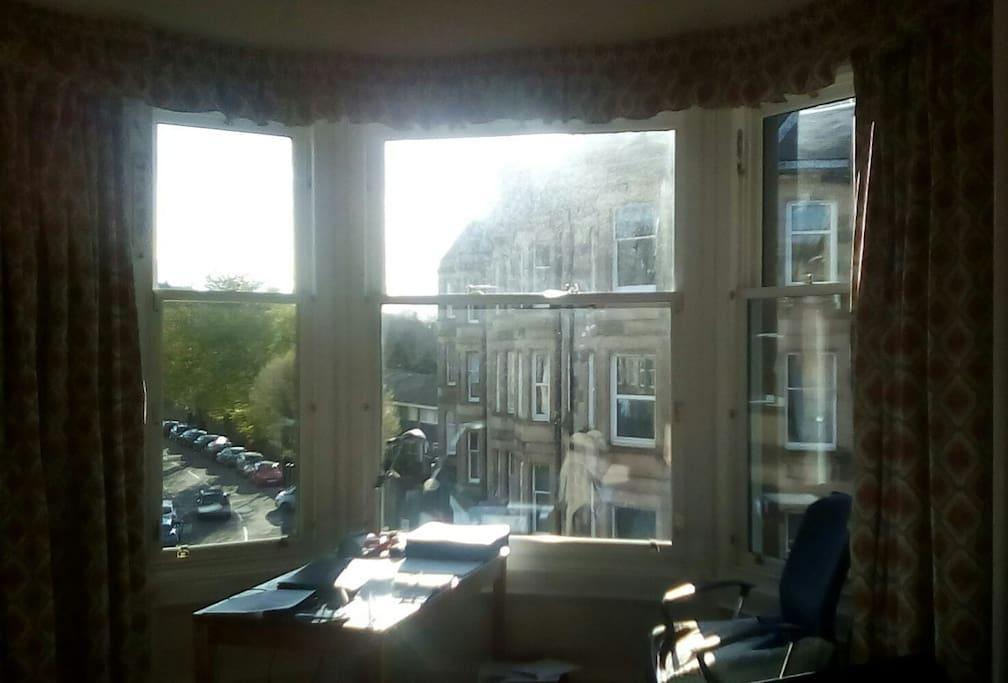 The bedroom bay window, with desk.