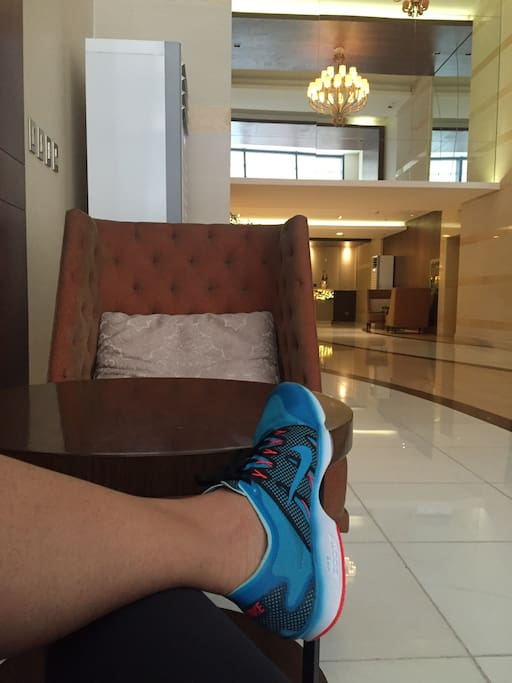 Lobby; ready to be fit at the gym