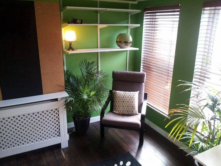 Reading seat with shelving, large double windows, double glazed