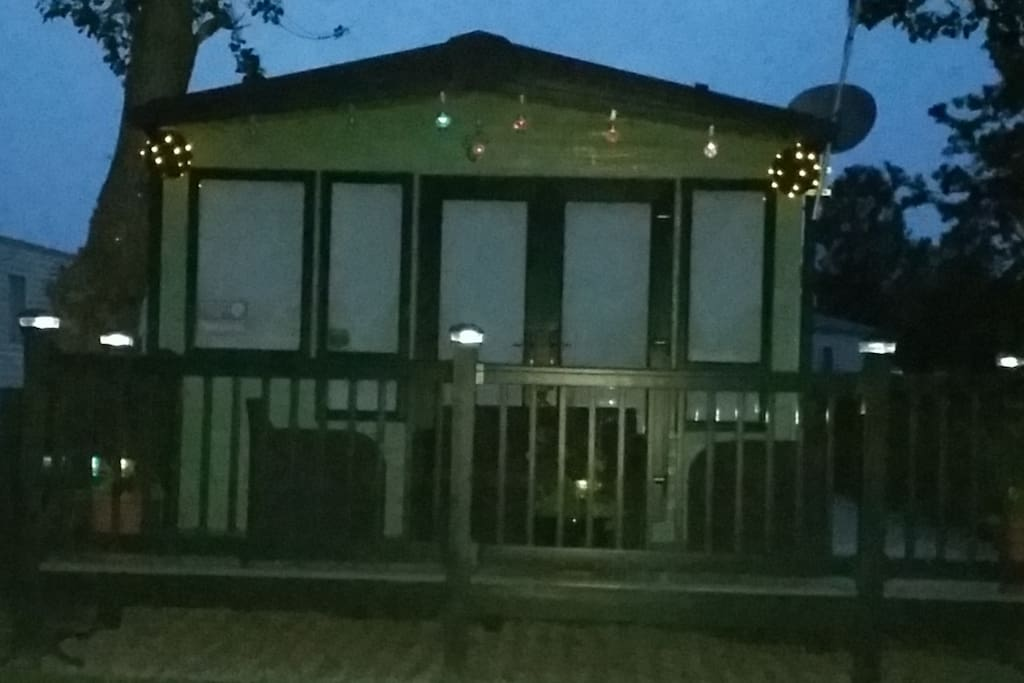 The front of the caravan at night