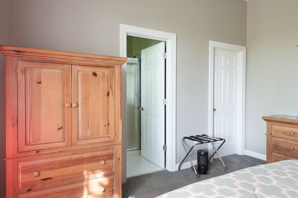 Television with UVerse service; walk-in closet