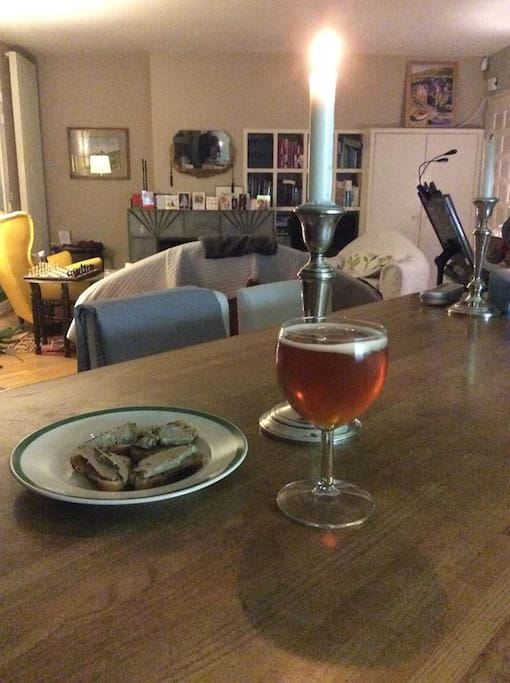 A home brewed beer and a bit of foie gras. Not bad.