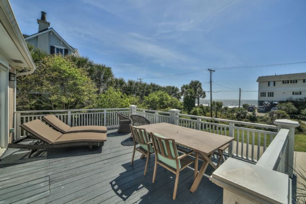 front porch - ocean views! beach across the street