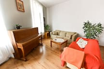 living room with sofa for 2
