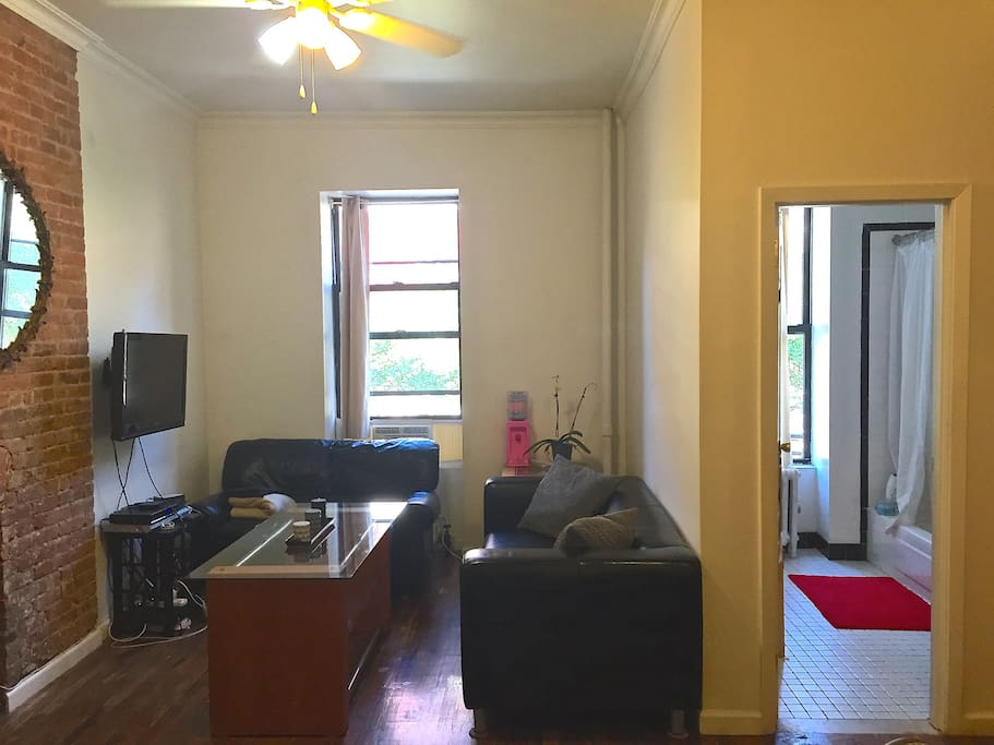 Living room + bathroom
