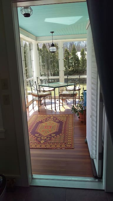 Glass or screened porch, depending on the season