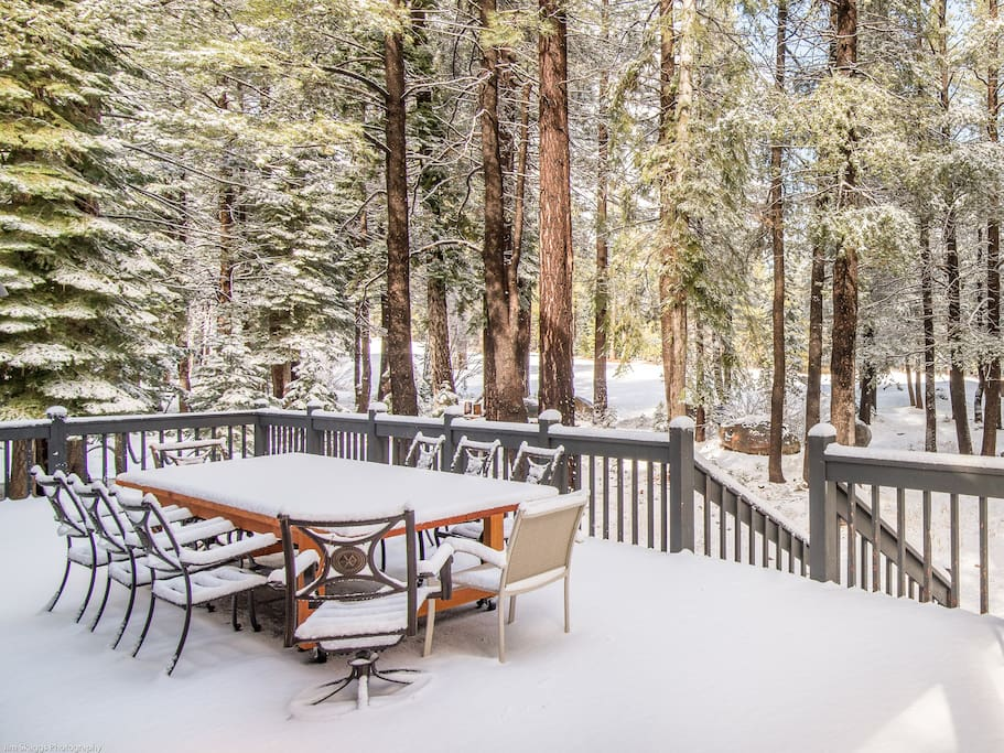 Enjoy beautiful woodland views from the expansive deck.