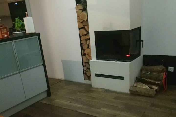 Private room in apartment with Fireplace&Dog