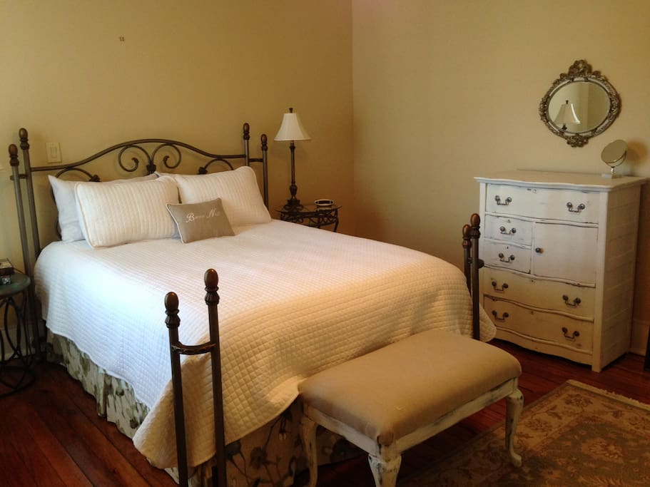 Cozy queen bed in a quiet and very private room.
