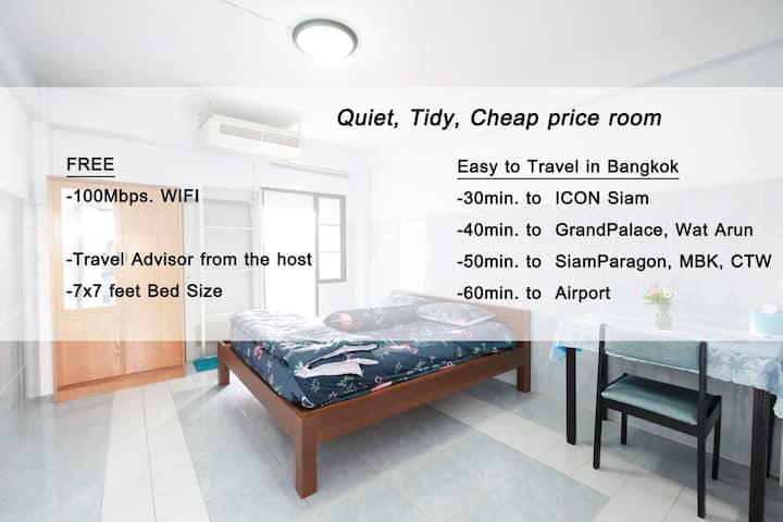 400Baht/Night | Free WIFI | Superking Size Bed.