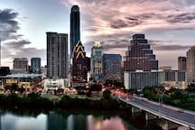 The beautiful Austin skyline and the South Congress Street bridge