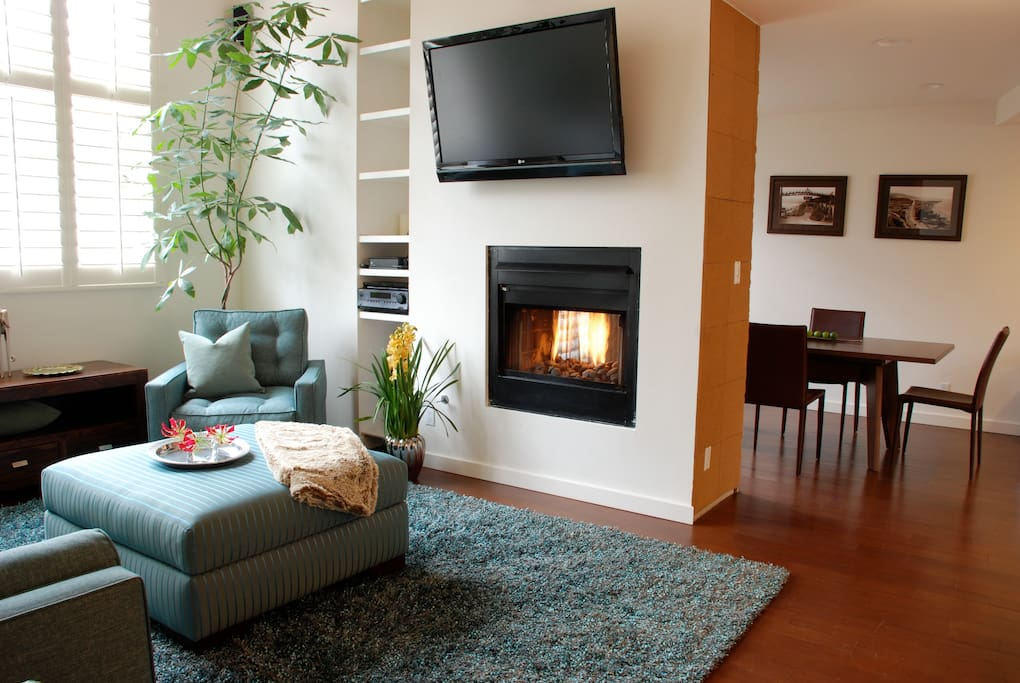 Cozy two sided fireplace