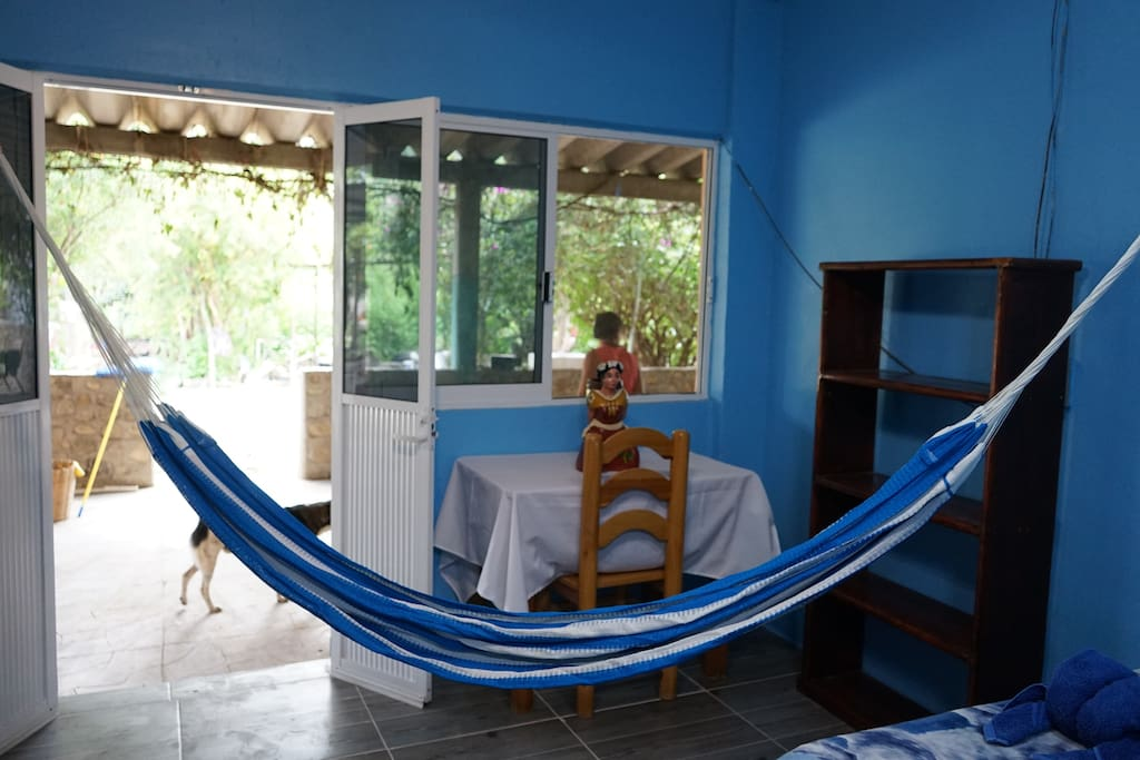 Oceano is our new room with two double beds, very large windows equipped with mosquito screens, fancy ceiling fan and a hammock for a relaxed beach like stay.