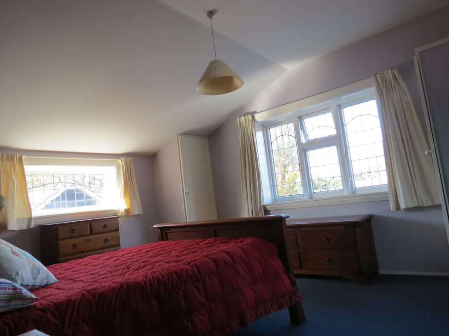 The Bedroom gets morning sun and looks out over the Avon River.