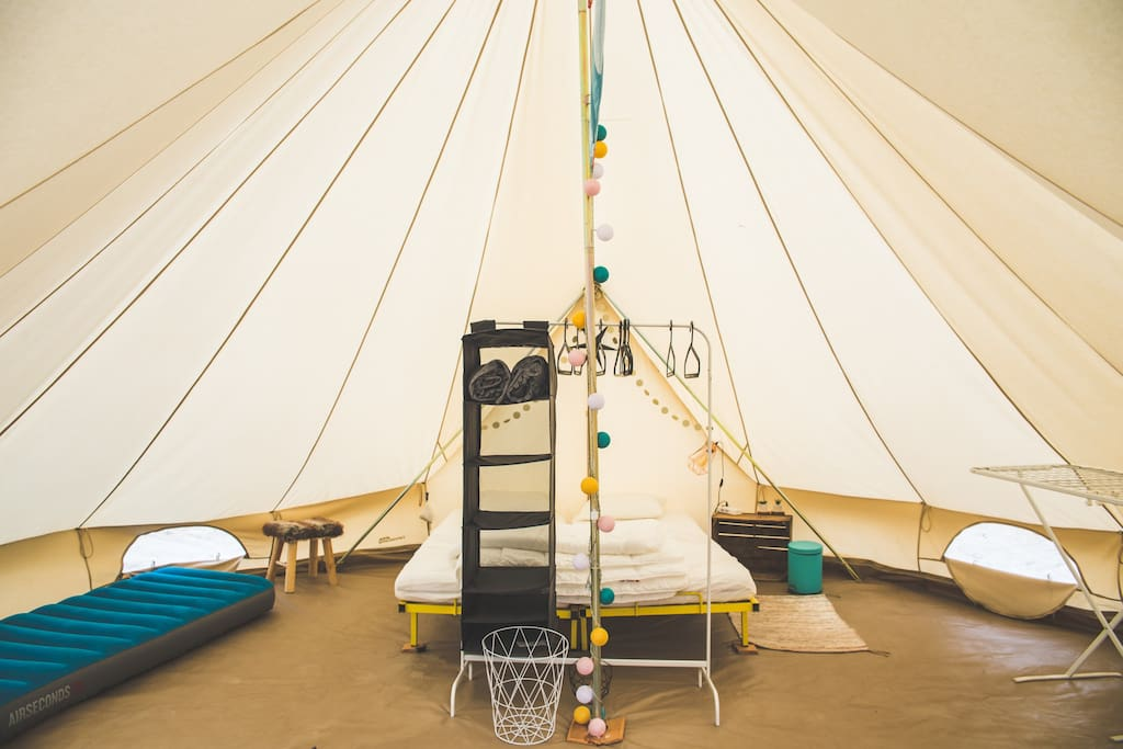 When you enter the tipi, you'll experience a very familiar feeling. This is because we try to recreate the same cosy feeling that you have when you go for a good night's rest in your own bed.
