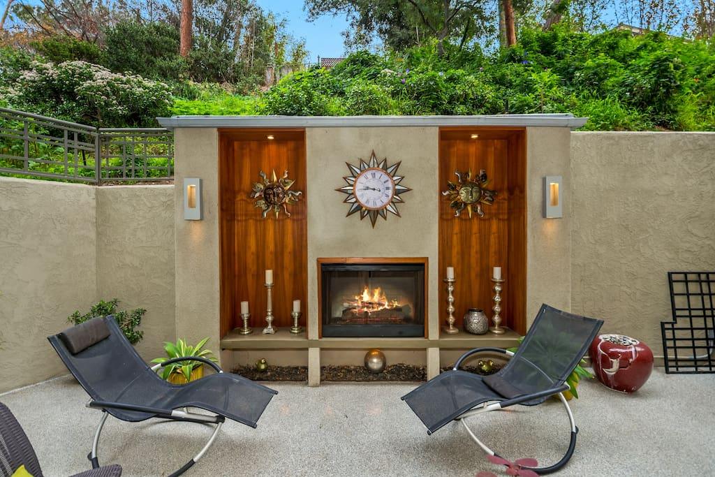 Two private patios surround condo