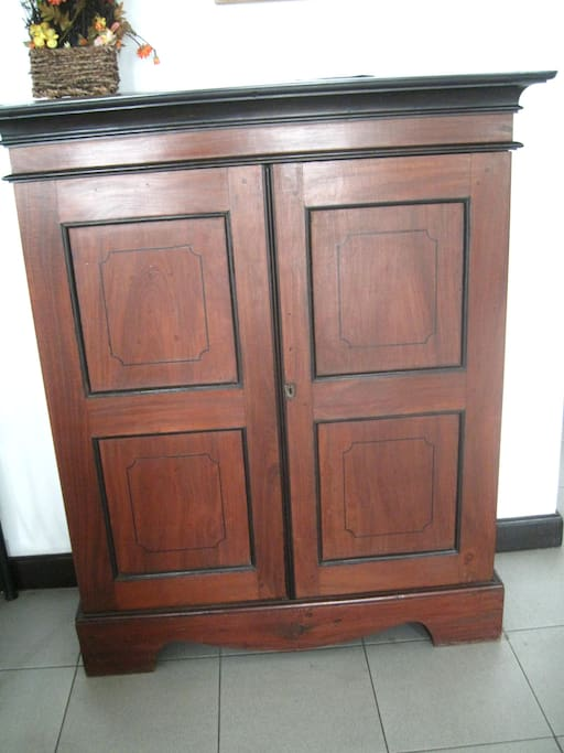 The wooden furniture