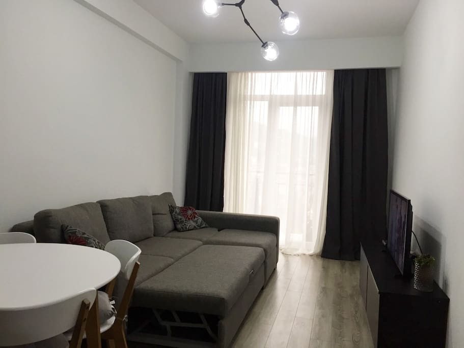 In living room we have very comfortable sofa-bed; Here can sleep 2 persons; Also big Tv;