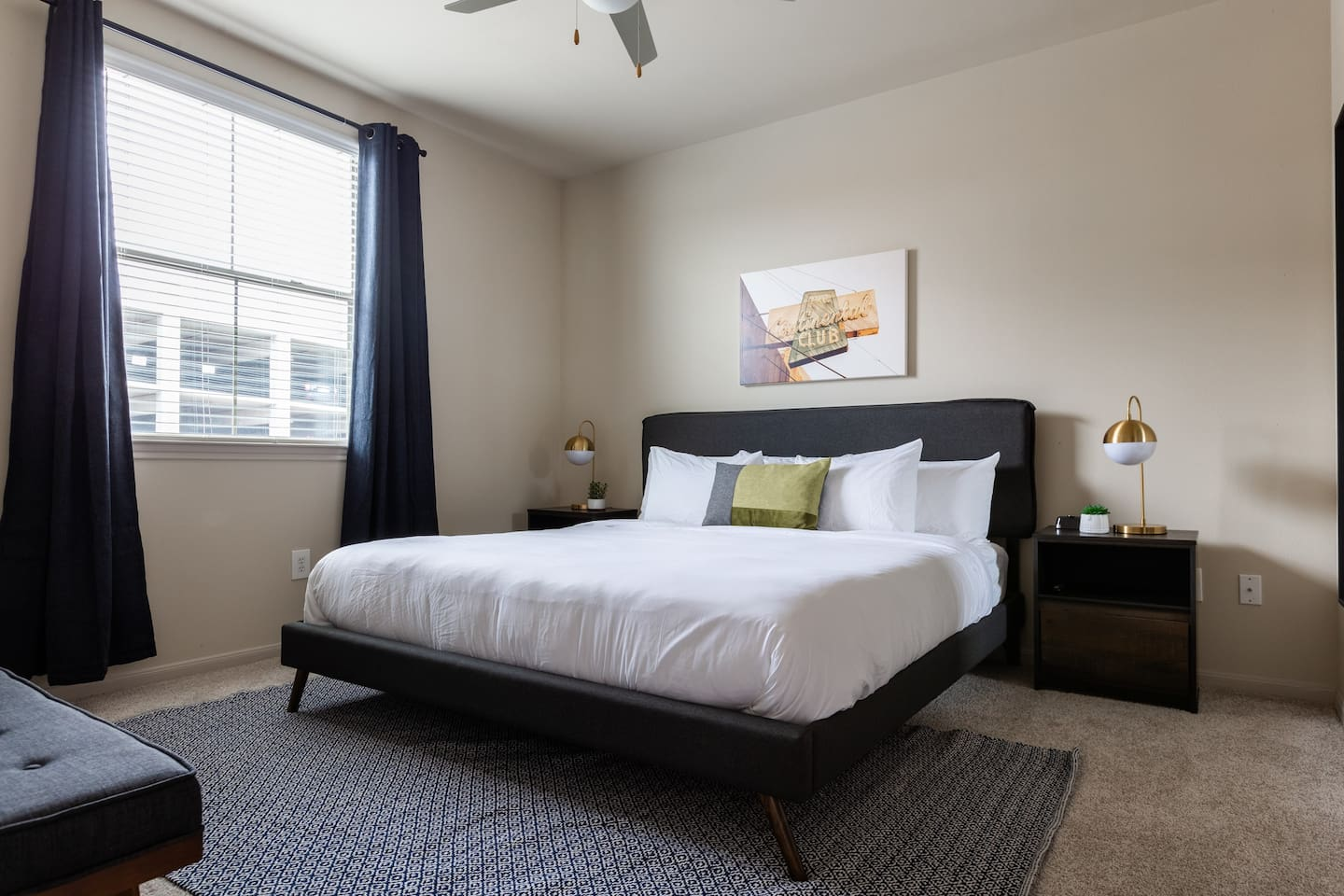 Bedroom with extremely comfortable king bed.