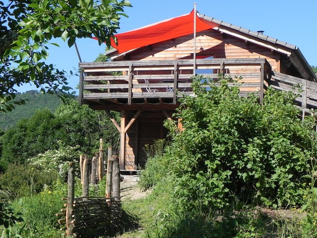 The wooden house of Ventalon en Cevennes