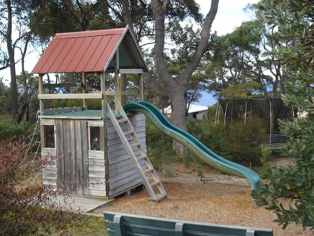 Playground and trampoline
