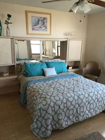 Master bedroom in a gorgeous oceanview apartment