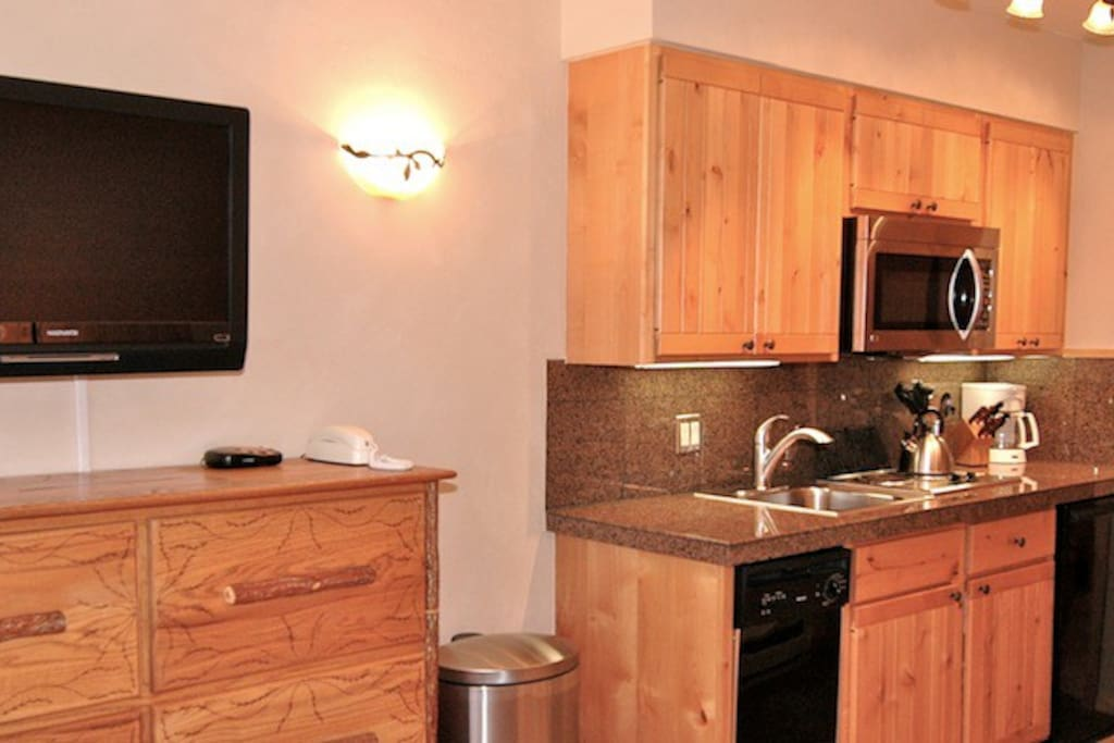 Viking Lodge 313 - there is a kitchenette with a mini fridge, dishwasher, cooktop & microwave.