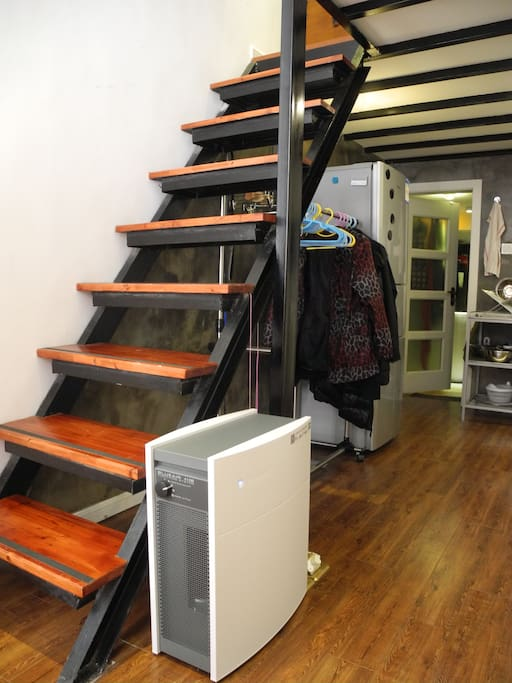 The stairs go up to the bedroom. Hospital-grade BlueAir air filtration system.