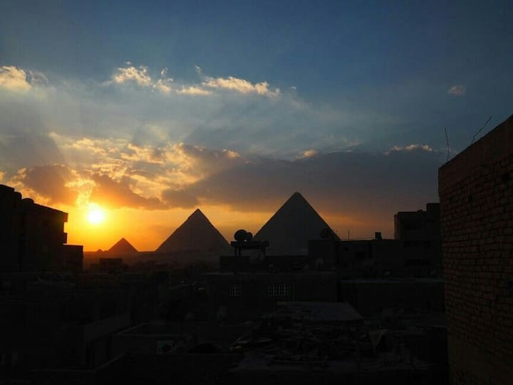 House of Hieroglyphs-Rooftop View of Pyramids