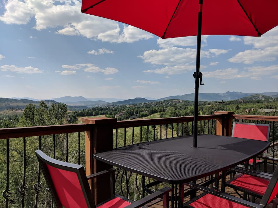 Enjoy Dinner overlooking the Yampa Valley - Emerald Mountain Ski area in front, downtown, and Sleeping Giant in the Distance
