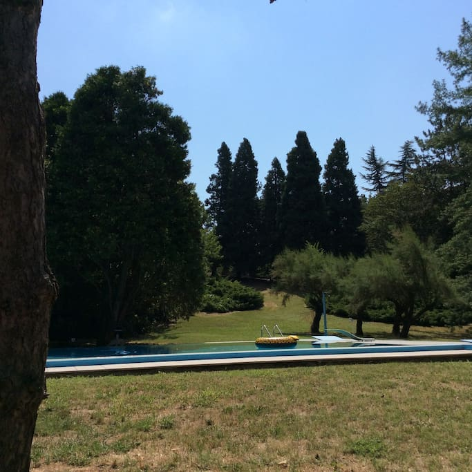 Extensive grounds surround the pool