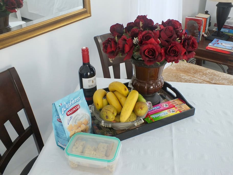 Complimentary goodies. Fruit bowl, wines, assorted biscuits and rusks.
