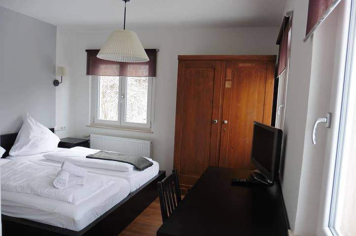 Bio Pension Glücklich, (Horgenzell), Doppelzimmer, 15qm, mit Dusche und WC