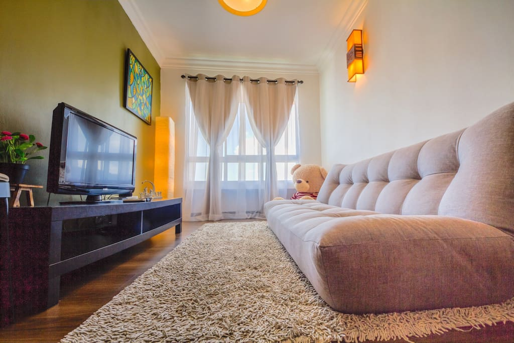 Living room: sofa bed, flat screen plasma TV, IPTV with thousand of channel and Astro.