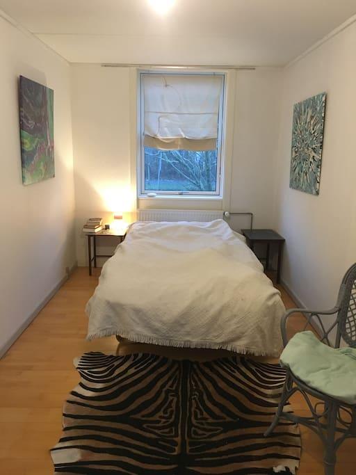 Seng 120 cm bred, 2 vinduer, modsatte ende af værelst har skrivebord og køleskab, mulighed for bøjleplads i skabsgang.