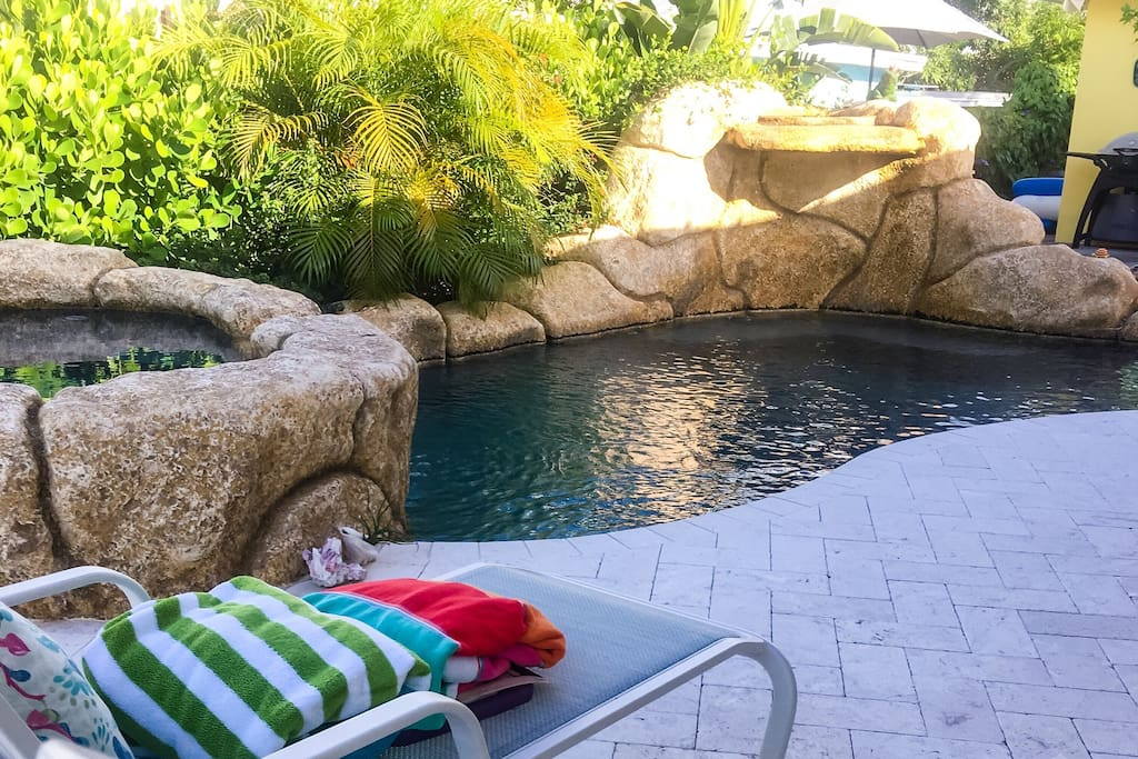 Lounge chairs facing pool to enjoy the serenity.