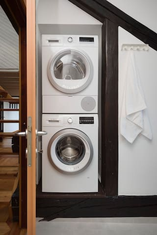Washer and dryer at your full disposal.